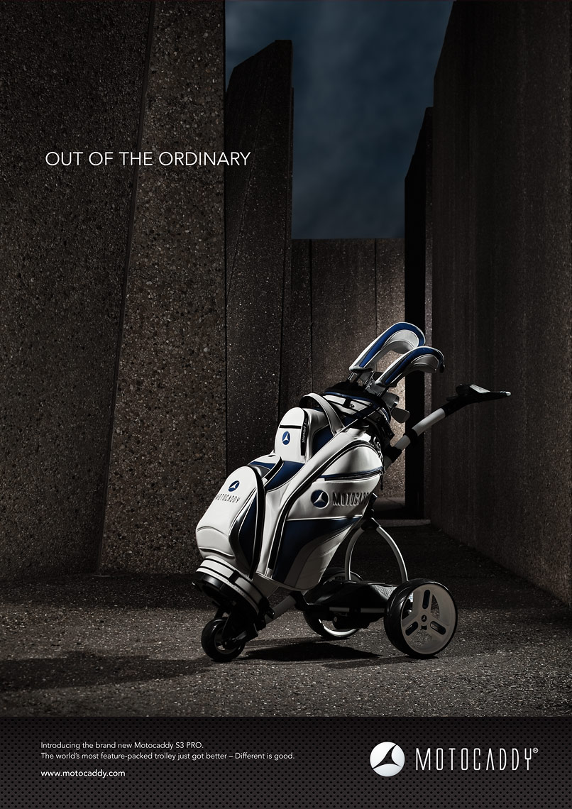 Motocaddy print advertising, Full Page Layout